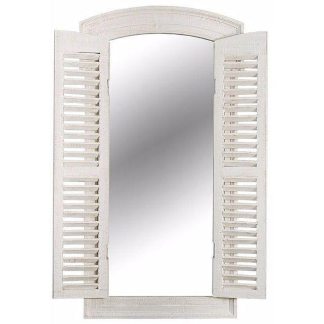 Comforium Miroir décoratif 120 cm avec des volets défraîchie en bois et verre coloris blanc