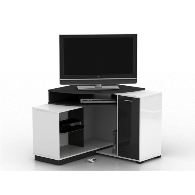 marque generique meuble tv d 39 angle amael avec rangements coloris blanc anthracite pas. Black Bedroom Furniture Sets. Home Design Ideas