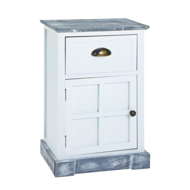 Esthetique NUANCEMEUBLE commode Jérusalem blanchi et gris L38 x P28 x H60 cm