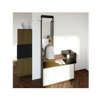 symbiosis meuble dentre design avec rangements et miroir l100cm kube noyer - Meuble Entree Design