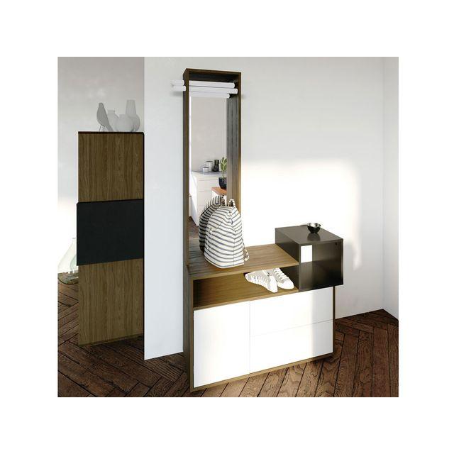 Dlm Meuble d'entrée design en bois avec rangements et miroir Kube
