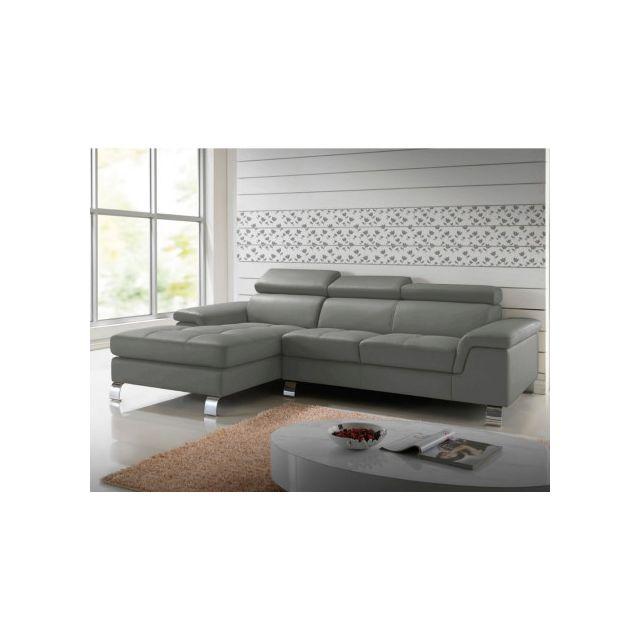 Canapé d'angle cuir Mishima - Gris - Angle gauche