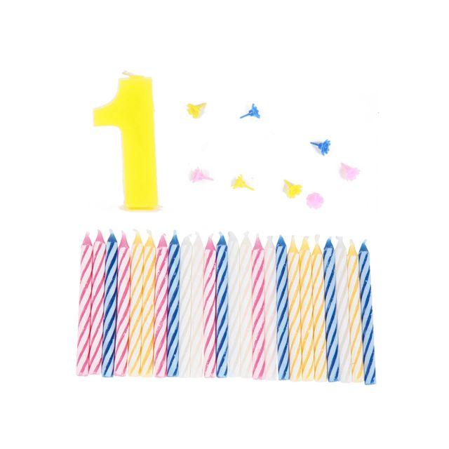 Comptoir Des Bougies Lot de 3 bougies d'anniversaire de 0 à 9 - 1