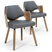 menzzo lot de 2 chaises scandinaves dima vintage gris - Chaise Vintage Scandinave