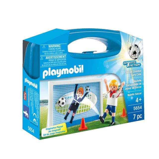 Playmobil 5654 Sports et Action : Valisette Footballeur La valisette contient : - 1 figurine.- 1 socle.- 1 ballon.Age minimum : 4 ans