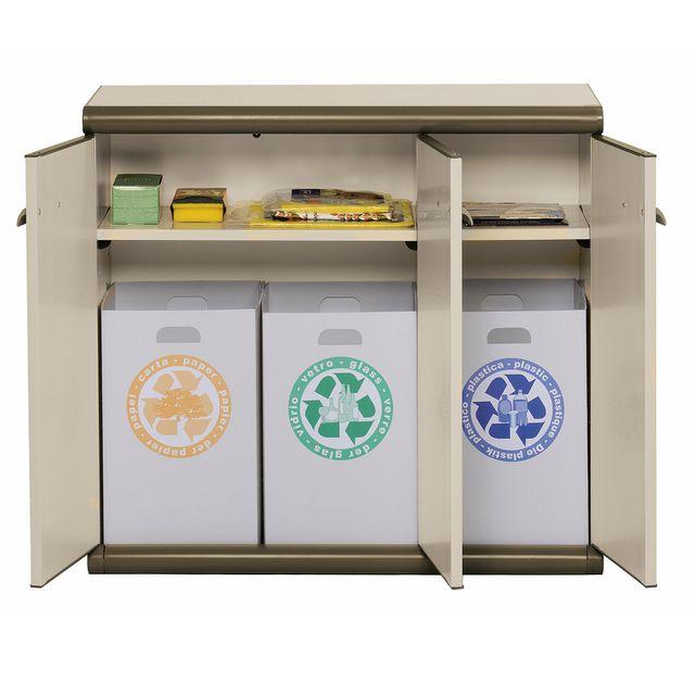 garofalo armoire basse en plastique 3 portes 3 bacs de recyclage beige pas cher achat. Black Bedroom Furniture Sets. Home Design Ideas