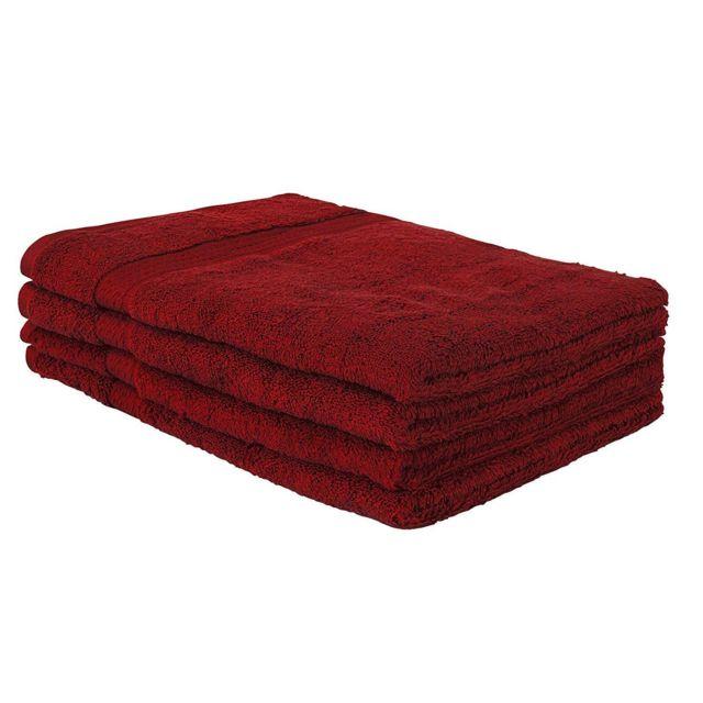 Helloshop26 Lot de 4 serviettes de toilette bain 100 x 50 cm 100% coton rouge 4001009
