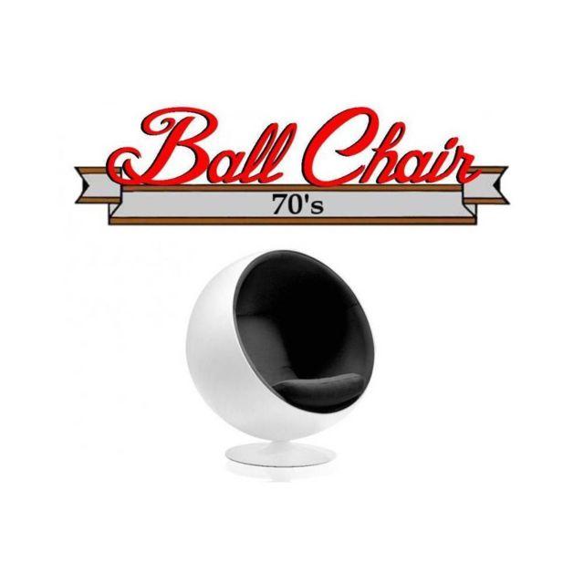 Inside 75 Fauteuil boule, Ball chair coque blanche / intérieur velours noir. Design 70's