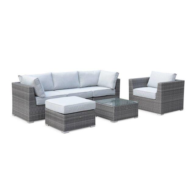 Salon de jardin en résine tressée arrondie - VINCI - Gris, coussins gris  clair - 5 places, modulable, ultra confortable, haut de gamme
