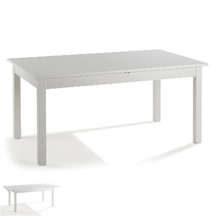 Table extensible avec allonge 160 cm coloris blanc - Prioude