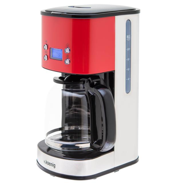H.Koenig Cafetière Programmable Rouge MG30 - Rouge Envie de déguster un délicieux café dès votre réveil ?Simplifiez vos matins en programmant à l'avance votre cafetière H.Koenig MG30Pratique, d'
