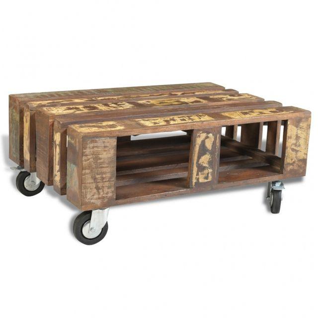 Casasmart Table basse à roulettes en bois récupéré
