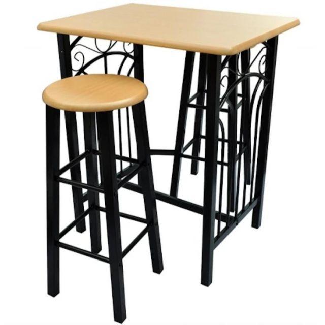 Helloshop26 Lot de 2 tabourets de bar chaise avec table haute set bois acier design cuisine salon 1202006/2