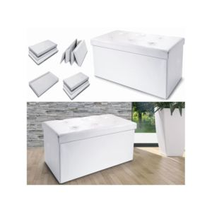 idmarket banc coffre rangement pvc blanc 100x38x38 cm pliable pas cher achat vente banc de. Black Bedroom Furniture Sets. Home Design Ideas