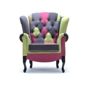 vente unique fauteuil tissu chesterfield patchwork arlequin tons verts anis anthracite et. Black Bedroom Furniture Sets. Home Design Ideas
