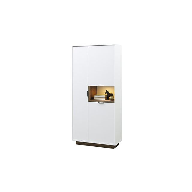 Buffet 86x187x37cm blanc mat et bois naturel