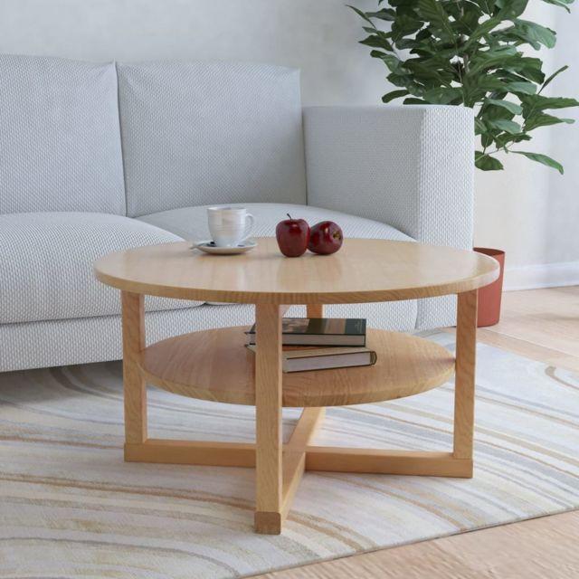 Vidaxl Bois de Chêne Massif Table Basse Table d'Appoint Salon Bout de Canapé
