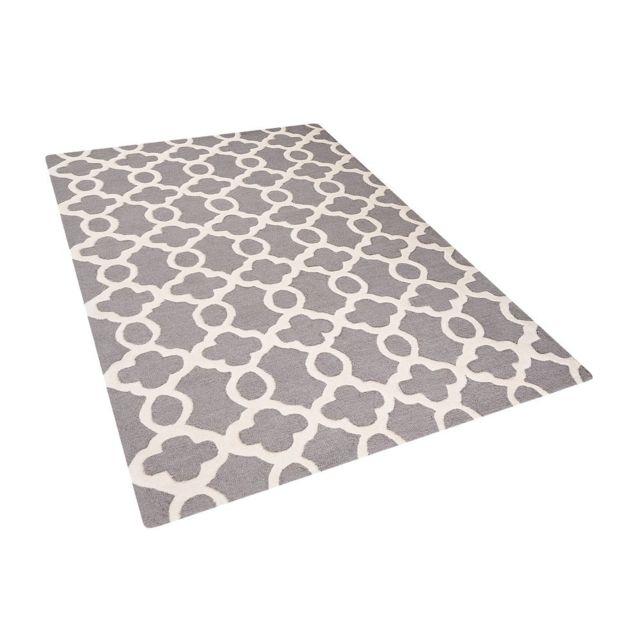 beliani tapis de salon gris 140x200 cm tapis coton laine zile - Tapis Coton