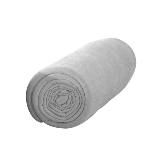 les douces nuits de ma drap housse 140x190 zinc 100 coton 57fils cm2 gris 140cm x 190cm. Black Bedroom Furniture Sets. Home Design Ideas
