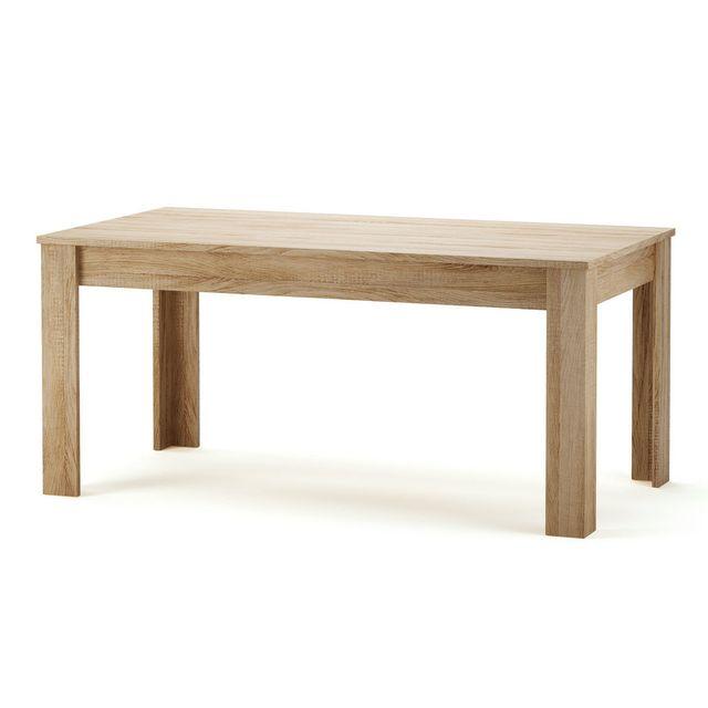 Marque generique table manger rectangulaire en bois 160 x 90 cm naxis pas cher achat for Carrefour table a manger