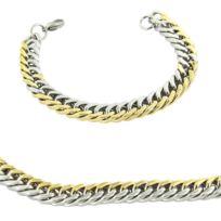 Metronhomme - Parure en Acier Argenté et Doré Collier Chaine Bracelet Homme M H 1181