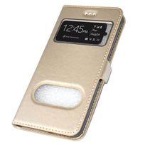 Cabling - Coque Etui Pochette Folio Housse Fenêtre or Galaxy S7 Edge - Contour IntÉRIEUR Silicone Incassable