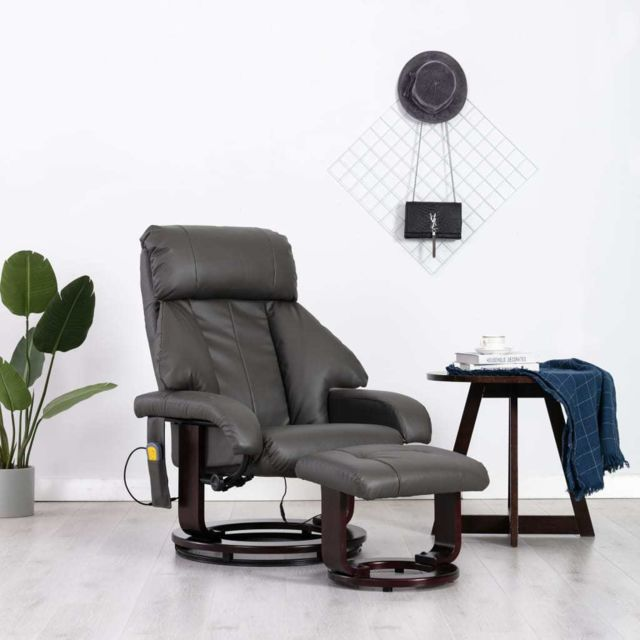 Vidaxl Fauteuil de Massage Tv Gris Similicuir Electrique Inclinable Salon