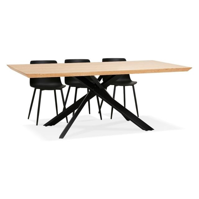 Alterego Table à diner avec pied central en x 'WALABY' en bois finition naturelle - 200x100 cm
