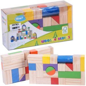 promobo jouet enfant en bois luxe set 50 pi ces blocs de construction pas cher achat vente. Black Bedroom Furniture Sets. Home Design Ideas