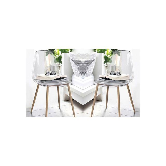 Zons lot de 2 chaise transparente pas cher achat for Chaise zons