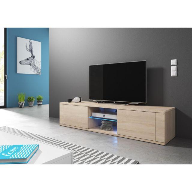 Vivaldi - Meuble Tv - Hit - 140 cm - chêne sonoma clair +LED - style design - pas cher Achat / Vente Meubles TV, Hi-Fi - RueDuCommerce