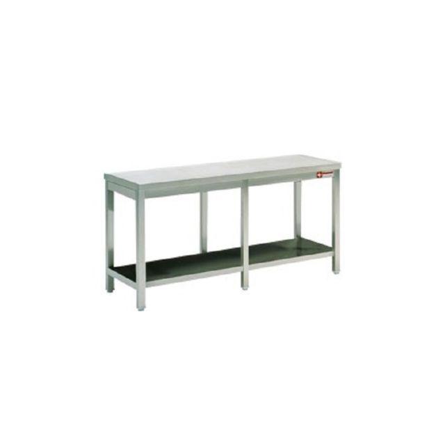 Combisteel Table de travail Inox Avec Etagère Soudée et Renfort - Gamme 800 inox 2100x800 800