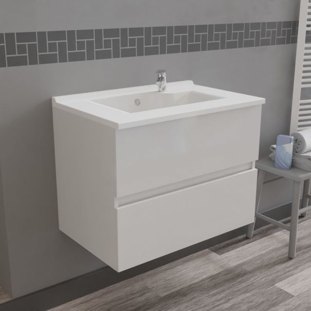 CREAZUR Caisson simple vasque ROSALY 70 - Blanc brillant