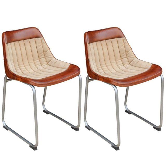 Sans Marque Chaise 2 pièces Cuir véritable et toile Marron et beige