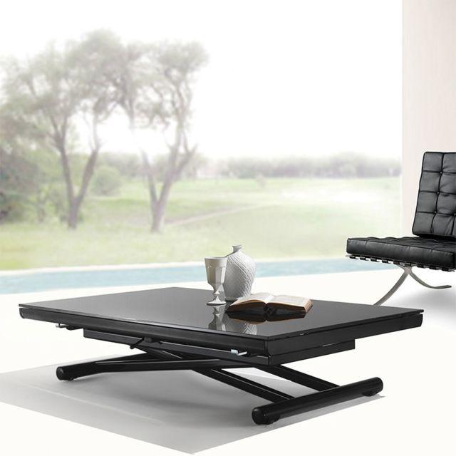 Nouvomeuble Table basse relevable noire design en verre Tina