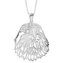 1001BIJOUX - Collier argent rhodié gros pendentif tête d'aigle 40+10cm