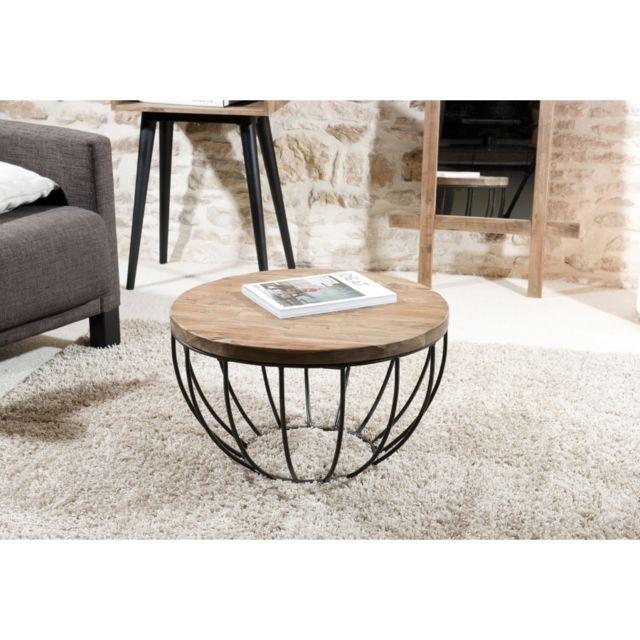 MACABANE Table basse coque noir 60x60 cm