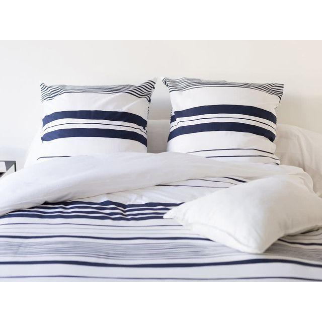 Kaligrafik - Parure housse de couette + taies 100% coton rayure marine bleu/blanc Matt - 260x240cmNC 240cm x 240cm