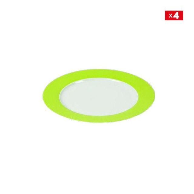 Jd Diffusion Lot de 4 assiettes à dessert vert 20cm