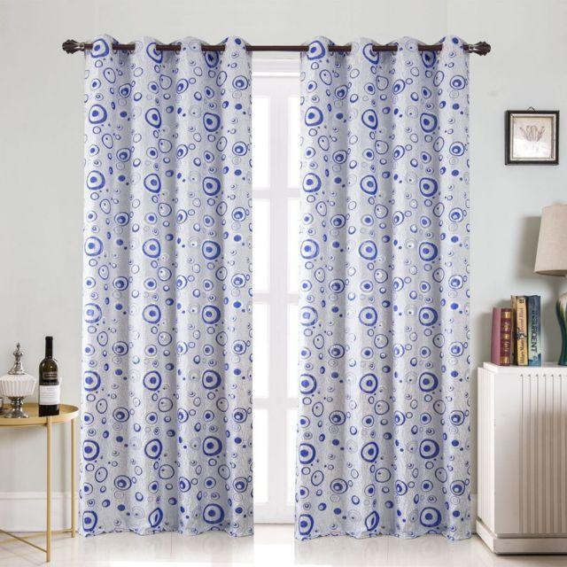 Best Interior Paire De Rideaux Bulle Brillant Bleu Dimensions