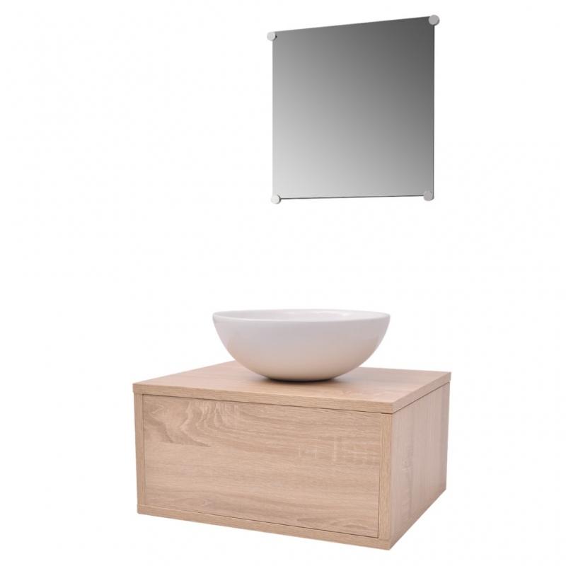 Mobilier de salle de bain 3 parties beige