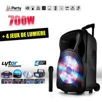 """Party Sound - Enceinte mobile amplifiée 700W 12"""" Led/USB/BT/SD/FM + Micro + 4 jeux de lumière LytOr"""