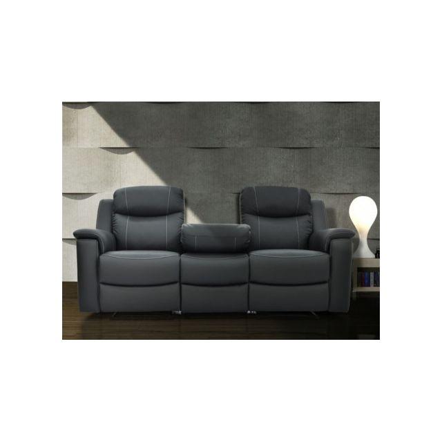 marque generique canap 3 places relax evasion en cuir gris anthracite 96cm x 205cm x 100cm achat vente canaps pas chers rueducommerce - Canape 3 Places Relax