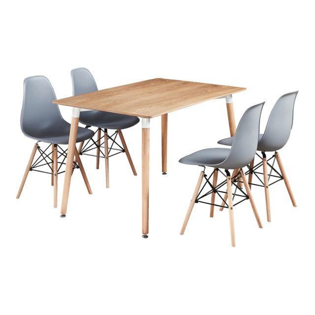 Home Design International Table Effet Chêne et 4 Chaises Grises - Design Scandinave - Moda Eiffel Halo