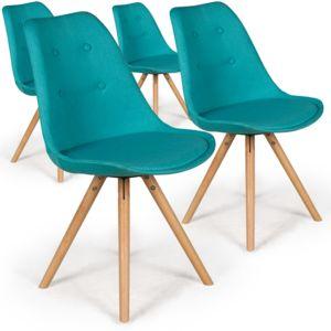 menzzo lot de 4 chaises scandinaves goya tissu bleu pas cher achat vente chaises. Black Bedroom Furniture Sets. Home Design Ideas