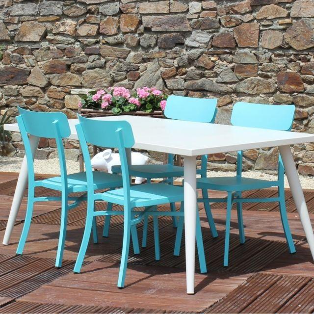 RESIDENCE - Salon de jardin MICA en aluminium - Couleur - Bleu - pas ...