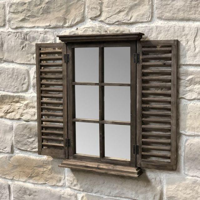 Chemin De Campagne Miroir Bois Fenêtre à Volet Persienne Bois 71.50 cm x 47 cm
