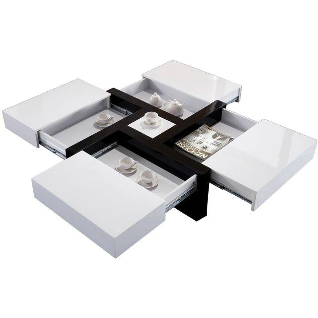 Table Basse Carree En Mdf Avec 4 Compartiments Coloris Blanc Et Noir Lola
