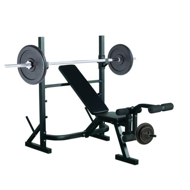 HOMCOM - Banc de musculation Fitness entrainement complet dossier réglable curler supports barre et haltères noir neuf 31