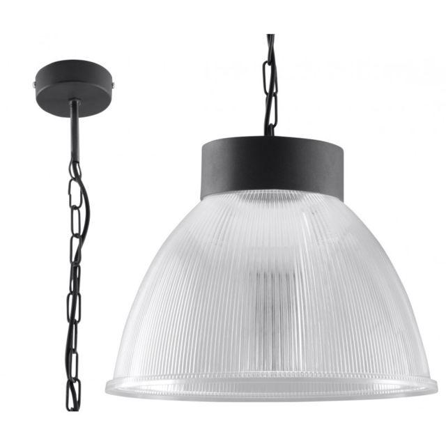 Luminaire Center Suspension Loft acier/PVC transparent/ graphite 1 ampoule